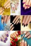 Красочные дизайны ногтя зимы ногтей рождества стоковые изображения