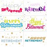 Красочные дизайны оформления счастливого текста выхода на пенсию иллюстрация штока
