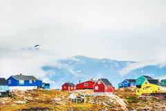 Красочные дома в западной Гренландии Стоковые Изображения RF
