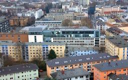 Красочные дома квартиры в Франкфурте стоковая фотография rf
