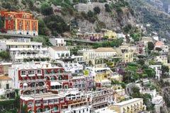 Красочные дома на деревне Positano стоковая фотография