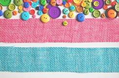 Красочные ленты кнопок и мешковины Стоковая Фотография RF