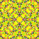 Красочные лепестки цветка на желтой предпосылке Стоковая Фотография