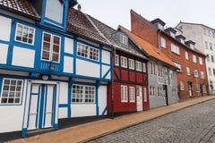 Красочные живущие дома Город Flensburg, Германия Стоковая Фотография RF