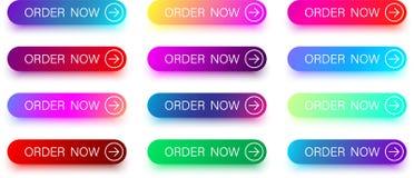 Красочные заказа значки теперь при стрелка изолированная на белизне Стоковые Фото