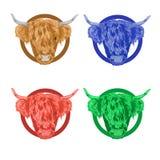 Красочные значки вектора с головой быка Стоковые Фотографии RF