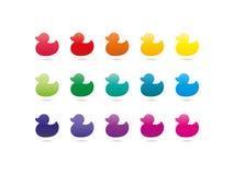 Красочные значки утки спектра радуги Животный символ Стоковое фото RF