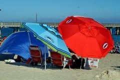 Красочные зонтики на пляже в Fort Lauderdale стоковая фотография rf