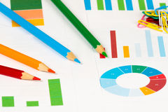Красочные диаграммы с карандашами Стоковое Изображение