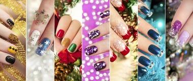Красочные дизайны ногтя зимы ногтей рождества стоковые фотографии rf
