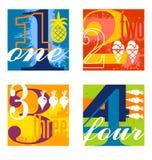 Красочные дизайны номера установили 1 Стоковое Изображение