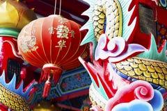 Красочные искусства скульптуры в китайском виске Стоковое Изображение RF
