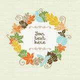Красочные листья осени с рамкой для текста иллюстрация штока