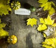 Красочные листья осени с тыквами на деревянной предпосылке Стоковая Фотография