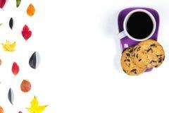 Красочные листья падения и фиолетовая кофейная чашка с поддонником, ложкой изолированной на белой предпосылке Стоковое Изображение