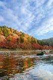 Красочные лист и река осени с голубым небом Стоковые Фотографии RF