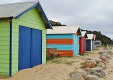 Красочные кабины пляжа в полуострове Mornington в Австралии Стоковые Фото