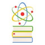 Красочные книги и значок атома плоский на белизне стоковые фотографии rf