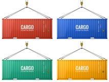 Красочные контейнеры для перевозок перевозки груза изолированные на белой предпосылке иллюстрация вектора