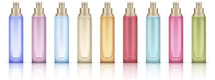 Красочные косметические установленные бутылки иллюстрация штока