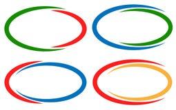 Красочные круговые рамки/элементы знамени Комплект версии 4 бесплатная иллюстрация