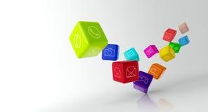 Красочные кубы с значками app на белой предпосылке Стоковое фото RF