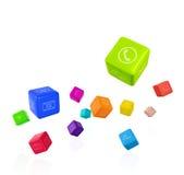 Красочные кубы с значками app на белой предпосылке Стоковая Фотография