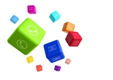 Красочные кубы с значками app на белой предпосылке Стоковые Изображения