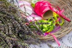Красочные ленты и цветки лаванды для украшения Стоковые Изображения
