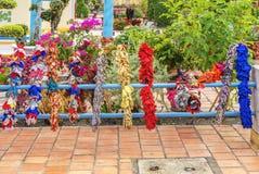 Красочные материалы, висок Cao Dai Святого престола, провинция Tay Ninh, Вьетнам стоковая фотография rf