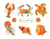 Красочные морские пехотинцы и aquatics бесплатная иллюстрация
