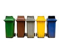 Красочные мусорные корзины собрания изолированные на белой предпосылке Стоковое Фото