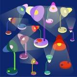 Красочные настольные лампы на синей предпосылке Стоковая Фотография RF