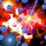 Красочные небо и планеты Стоковое Изображение RF