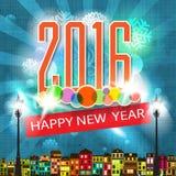 Красочные Новые Годы иллюстрации поздравительной открытки Нового Года стиля шаржа карточки Eve ретро Стоковая Фотография RF