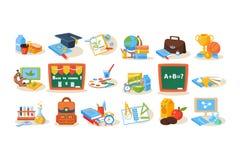 Красочные объекты школы для концепции образования Доска, обед, книги, ручки, краски, микроскоп, глобус, трофей бесплатная иллюстрация