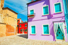 Красочные дома в острове Burano, Италии Стоковые Фотографии RF