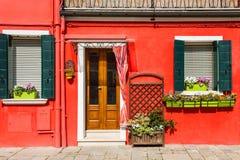 Красочные дома в острове Burano Стоковое Изображение RF
