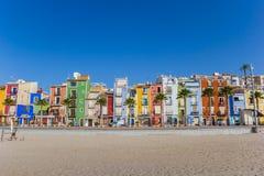 Красочные дома на пляже Villjoyosa Стоковое Фото