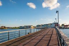 Красочные дома строки в Houten, Нидерландах, на сумраке и reflecti Стоковые Фотографии RF