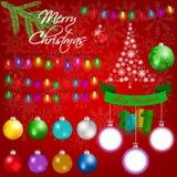 Красочные орнаменты и элементы рождества на красной снежной предпосылке Стоковое Изображение