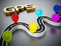 Красочные отметки, шоссе и gps дороги отправляют СМС на темной предпосылке иллюстрация 3d бесплатная иллюстрация