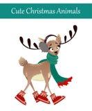 Красочные олени нося теплые одежды зимы Стоковое Изображение