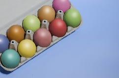 Красочные пасхальные яйца в подносе Стоковые Изображения