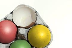 Красочные пасхальные яйца в подносе Стоковая Фотография RF
