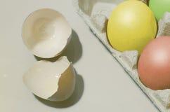 Красочные пасхальные яйца в подносе Стоковые Фотографии RF