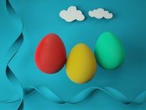 Красочные пасхальные яйца на голубой предпосылке иллюстрация 3d стоковая фотография rf