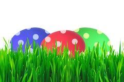 Красочные пасхальные яйца в зеленой траве стоковые изображения rf