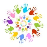 Красочные печати руки, солнце Стоковое Изображение RF