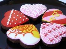 Красочные печенья сердца влюбленности Стоковое Изображение